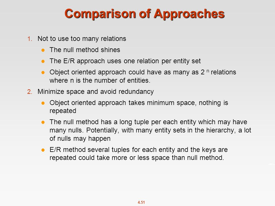 4.51 Comparison of Approaches 1.