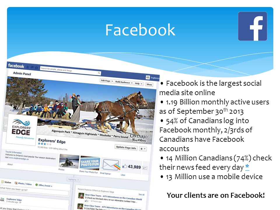Facebook Facebook is the largest social media site online 1.19 Billion monthly active users as of September 30 th 2013 54% of Canadians log into Facebook monthly, 2/3rds of Canadians have Facebook accounts 14 Million Canadians (74%) check their news feed every day ** 13 Million use a mobile device Your clients are on Facebook!