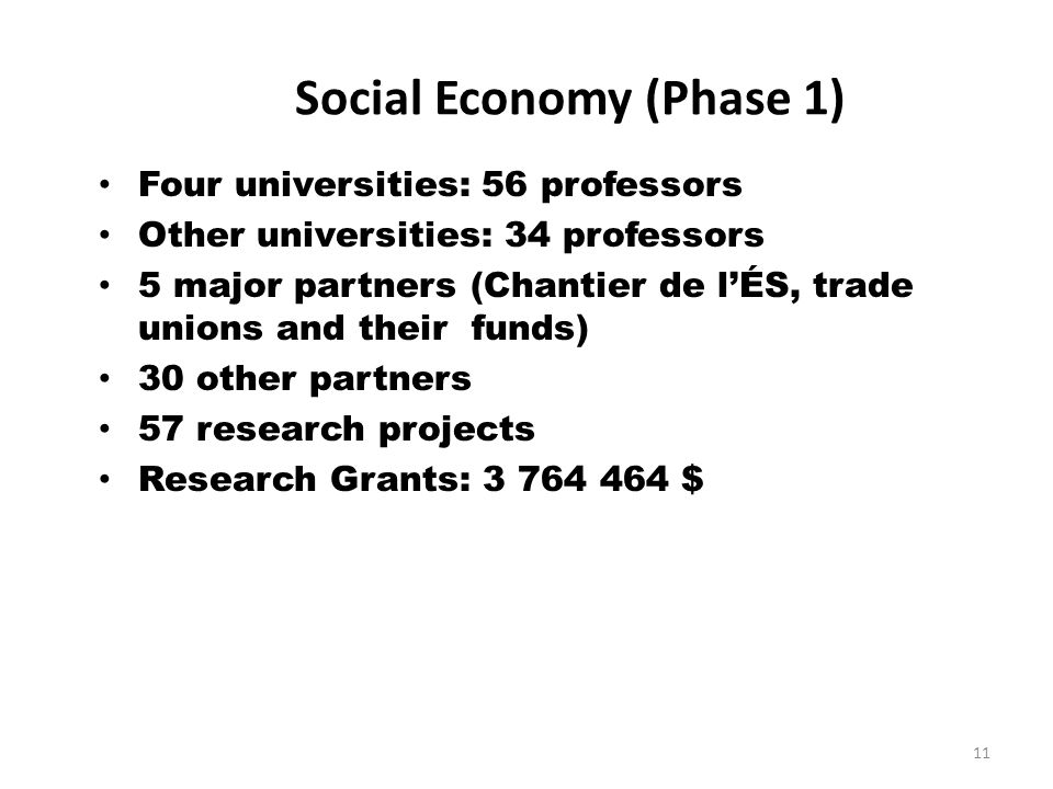 11 Social Economy (Phase 1) Four universities: 56 professors Other universities: 34 professors 5 major partners (Chantier de l'ÉS, trade unions and their funds) 30 other partners 57 research projects Research Grants: 3 764 464 $