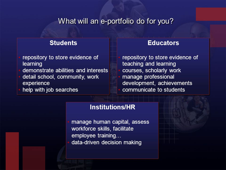 Institutions/HR Students Educators What will an e-portfolio do for you.