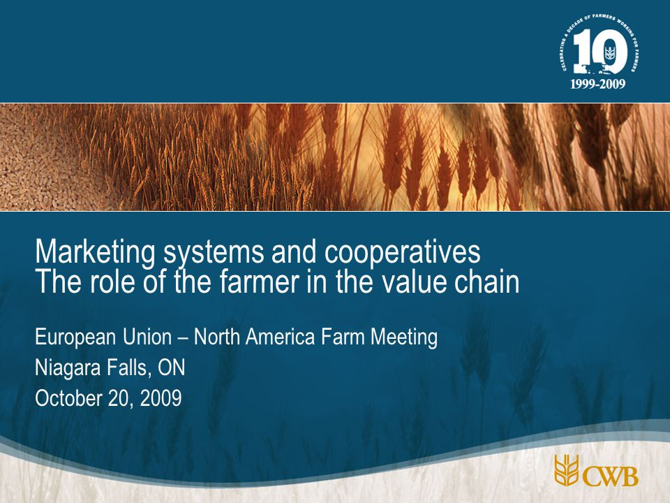 European Union – North America Farm Meeting Niagara Falls, ON October 20, 2009 Marketing systems and cooperatives The role of the farmer in the value chain