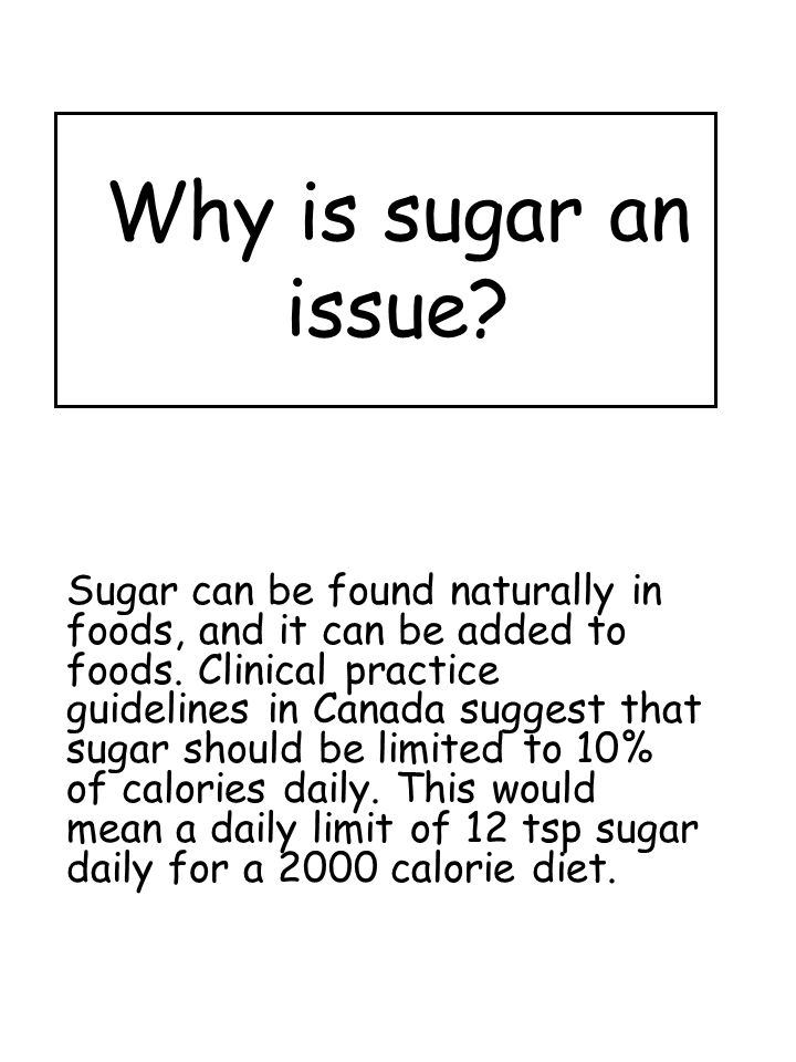 Why is sugar an issue. Sugar can be found naturally in foods, and it can be added to foods.