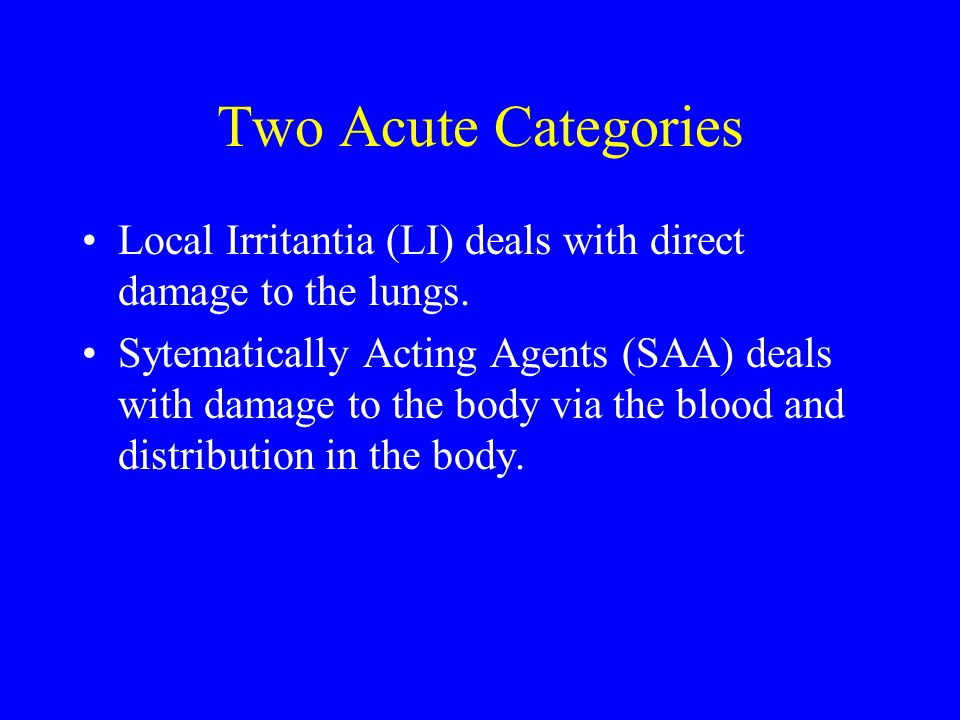 Two Acute Categories Local Irritantia (LI) deals with direct damage to the lungs.