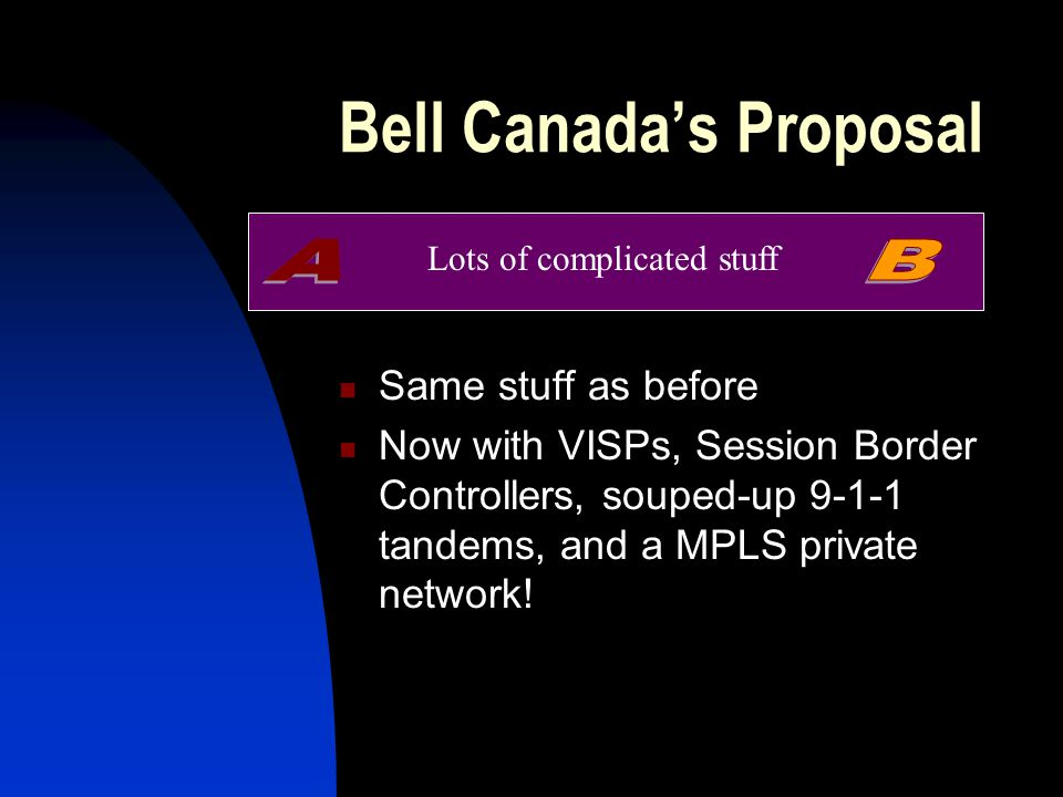 Bell Canada's Proposal Same stuff as before Now with VISPs, Session Border Controllers, souped-up 9-1-1 tandems, and a MPLS private network.