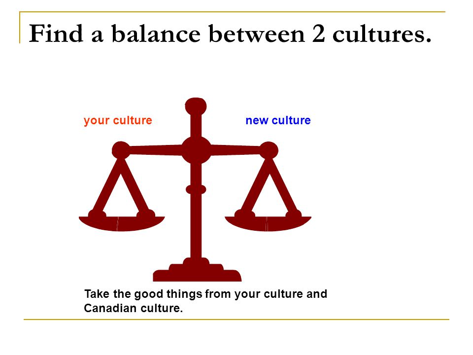 Find a balance between 2 cultures.