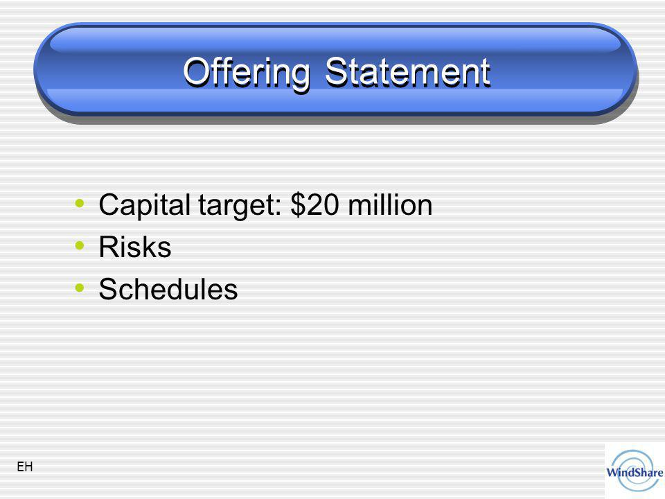 Offering Statement Capital target: $20 million Risks Schedules EH