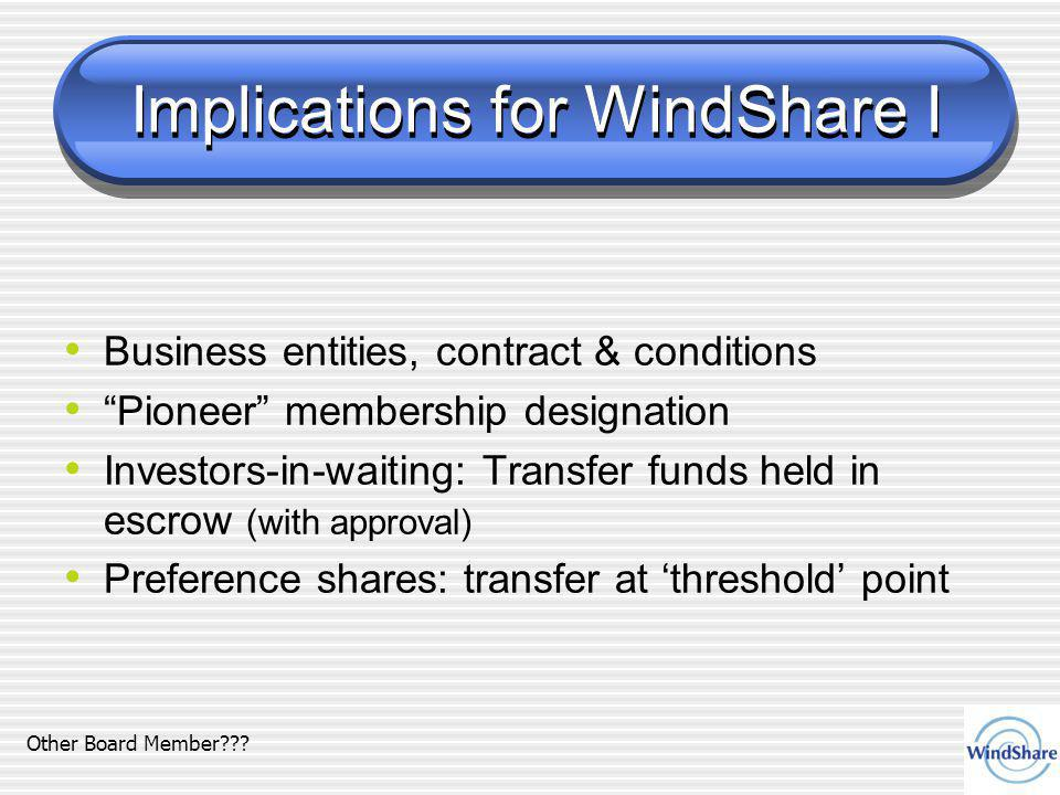 Implications for WindShare I Business entities, contract & conditions Pioneer membership designation Investors-in-waiting: Transfer funds held in escrow (with approval) Preference shares: transfer at 'threshold' point Other Board Member