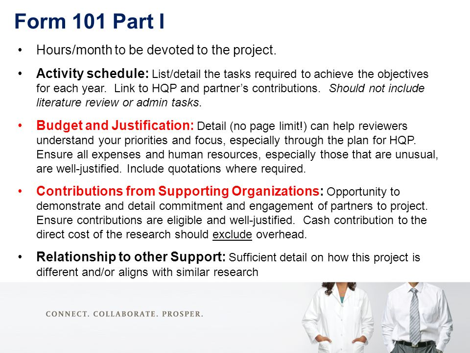 Form 101 Part I Hours/month to be devoted to the project.
