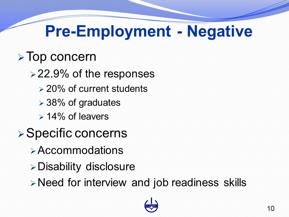 Pre-Employment - Negative  Top concern  22.9% of the responses  20% of current students  38% of graduates  14% of leavers  Specific concerns  Accommodations  Disability disclosure  Need for interview and job readiness skills 10