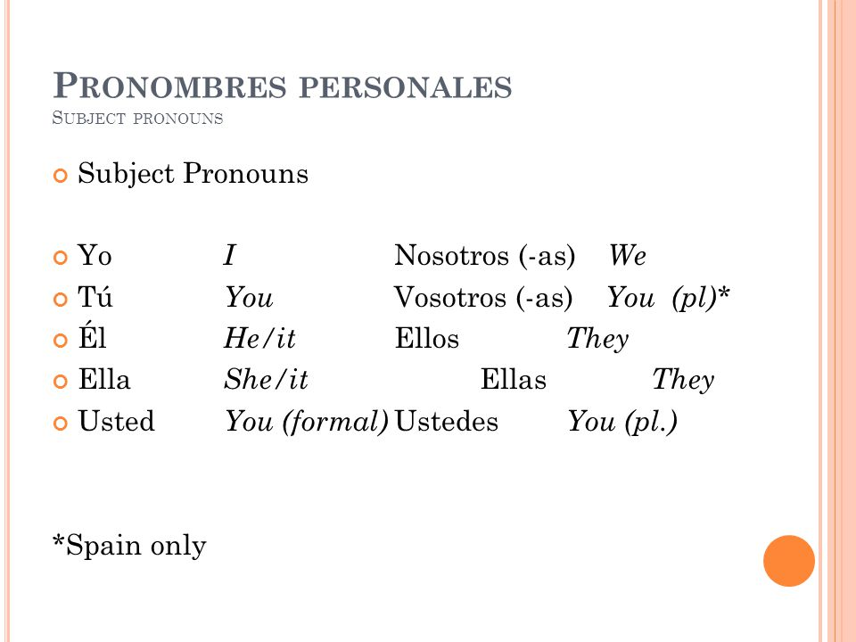 P RONOMBRES PERSONALES S UBJECT PRONOUNS Subject Pronouns Yo I Nosotros (-as) We Tú You Vosotros (-as) You (pl)* Él He/it Ellos They Ella She/it Ellas They Usted You (formal) Ustedes You (pl.) *Spain only