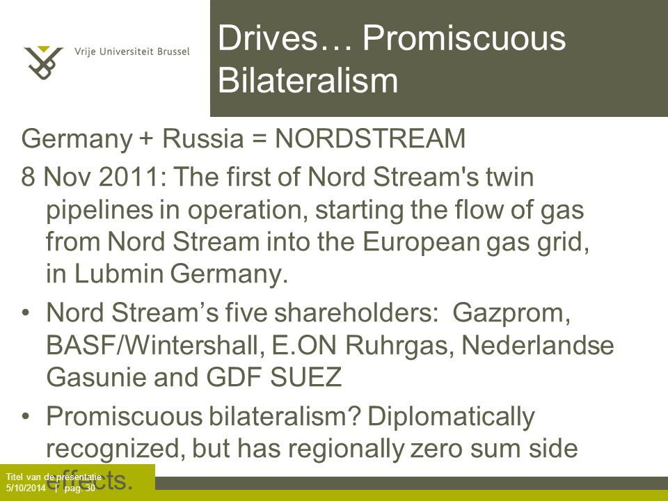Drives… Promiscuous Bilateralism Germany + Russia = NORDSTREAM 8 Nov 2011: The first of Nord Stream s twin pipelines in operation, starting the flow of gas from Nord Stream into the European gas grid, in Lubmin Germany.