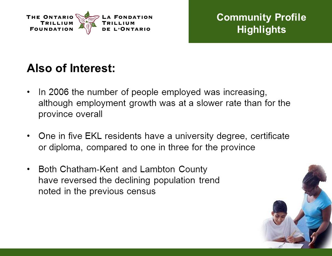 Also of Interest: In 2006 the number of people employed was increasing, although employment growth was at a slower rate than for the province overall One in five EKL residents have a university degree, certificate or diploma, compared to one in three for the province Both Chatham-Kent and Lambton County have reversed the declining population trend noted in the previous census Community Profile Highlights