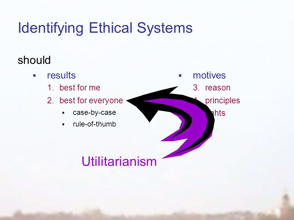 Identifying Ethical Systems should  results 1.best for me 2.best for everyone  case-by-case  rule-of-thumb  motives 3.reason 4.principles 5.rights Utilitarianism