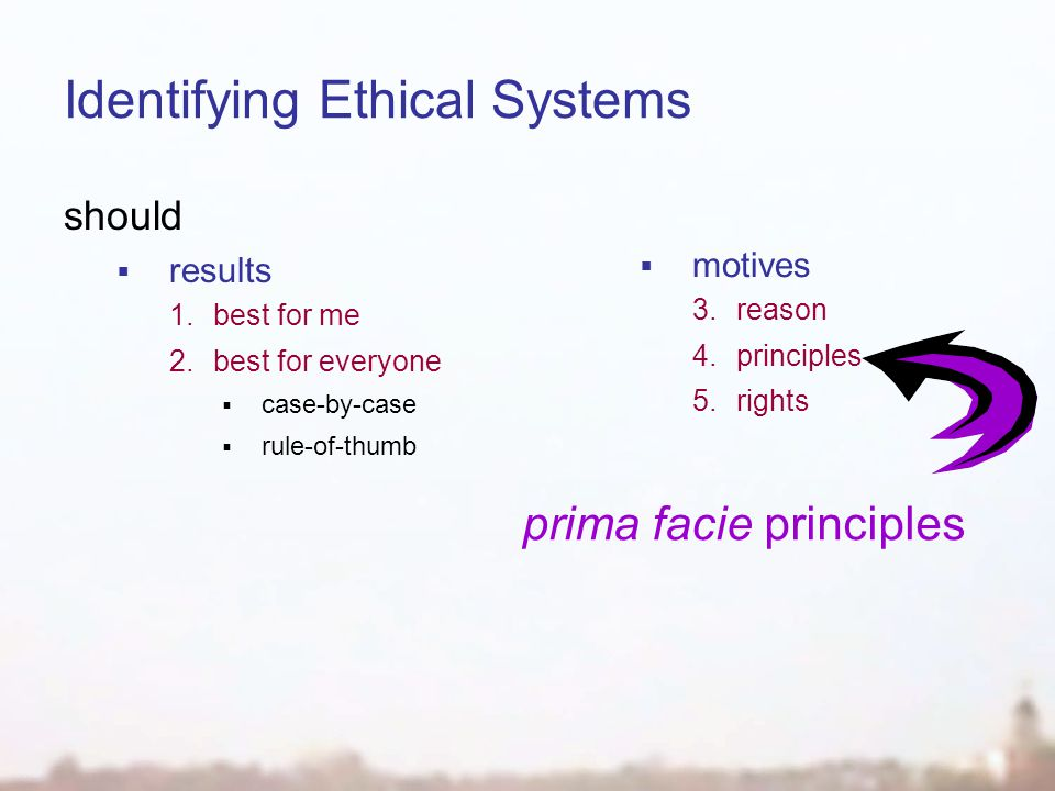 Identifying Ethical Systems should  results 1.best for me 2.best for everyone  case-by-case  rule-of-thumb  motives 3.reason 4.principles 5.rights prima facie principles