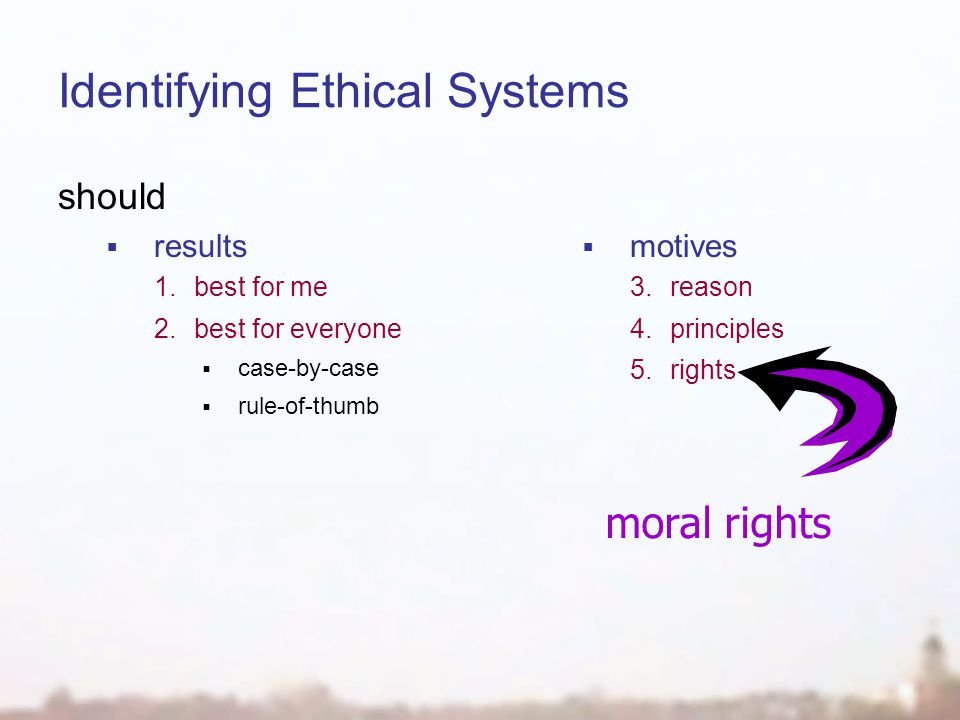 Identifying Ethical Systems should  results 1.best for me 2.best for everyone  case-by-case  rule-of-thumb  motives 3.reason 4.principles 5.rights moral rights
