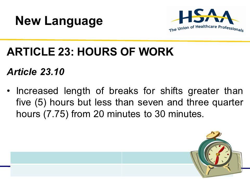 New Language ARTICLE 23: HOURS OF WORK Article 23.10 Increased length of breaks for shifts greater than five (5) hours but less than seven and three quarter hours (7.75) from 20 minutes to 30 minutes.