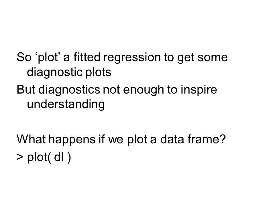 So 'plot' a fitted regression to get some diagnostic plots But diagnostics not enough to inspire understanding What happens if we plot a data frame.