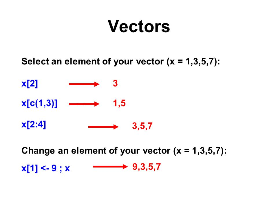 Vectors Select an element of your vector (x = 1,3,5,7): x[2]3 1,5 3,5,7 x[c(1,3)] x[2:4] Change an element of your vector (x = 1,3,5,7): x[1] <- 9 ; x 9,3,5,7