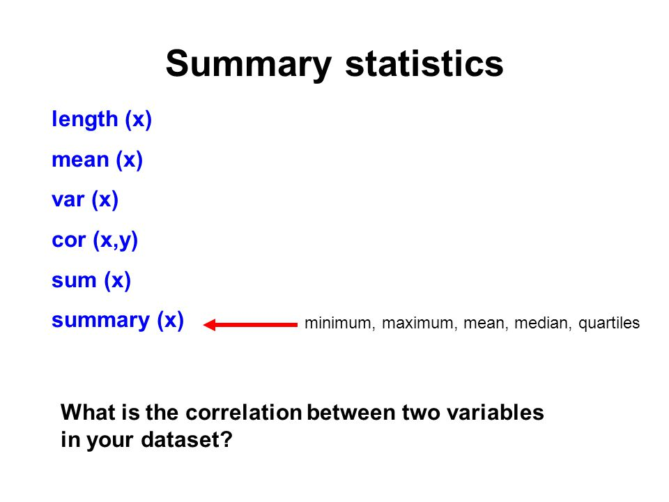 Summary statistics length (x) mean (x) var (x) cor (x,y) sum (x) summary (x) minimum, maximum, mean, median, quartiles What is the correlation between two variables in your dataset