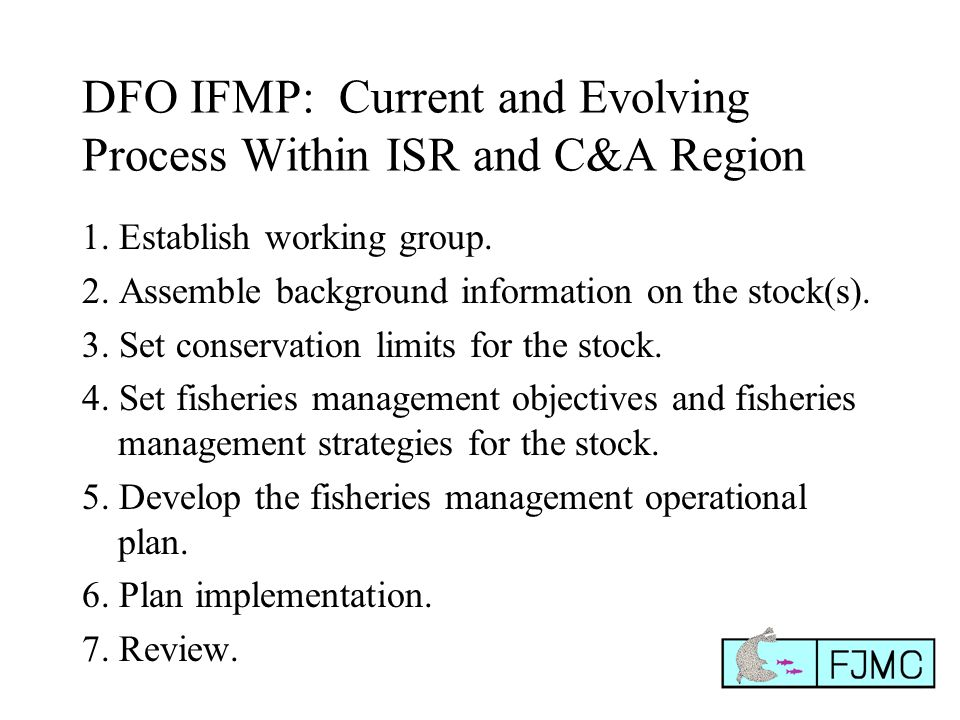 DFO IFMP: Current and Evolving Process Within ISR and C&A Region 1.