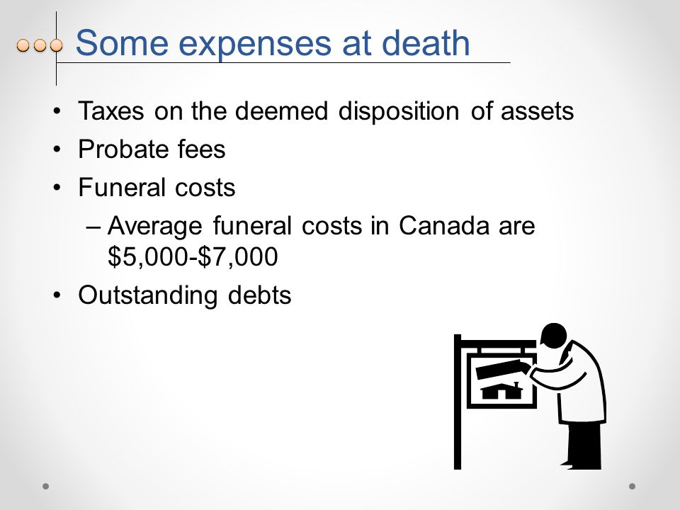 Some expenses at death Taxes on the deemed disposition of assets Probate fees Funeral costs –Average funeral costs in Canada are $5,000-$7,000 Outstanding debts
