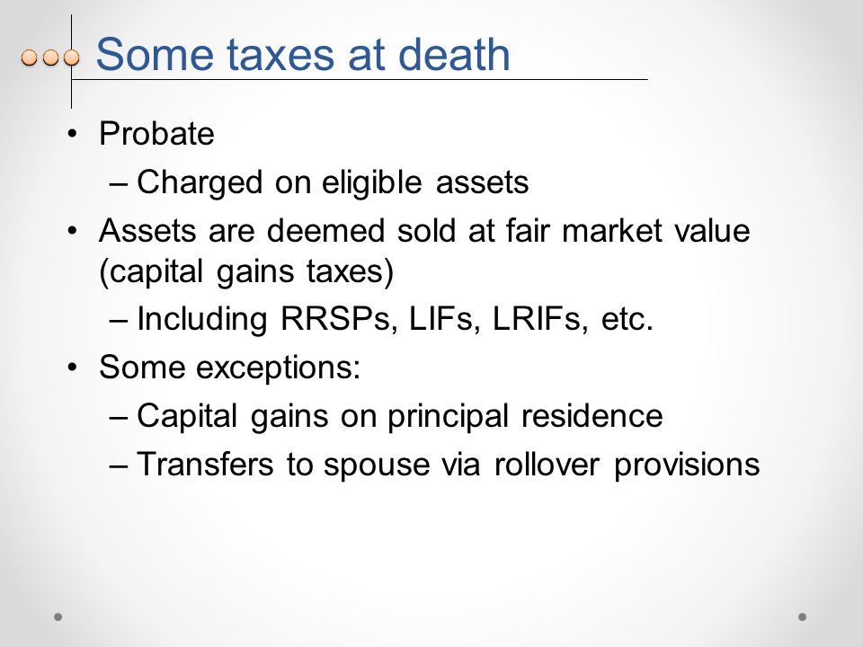 Some taxes at death Probate –Charged on eligible assets Assets are deemed sold at fair market value (capital gains taxes) –Including RRSPs, LIFs, LRIFs, etc.