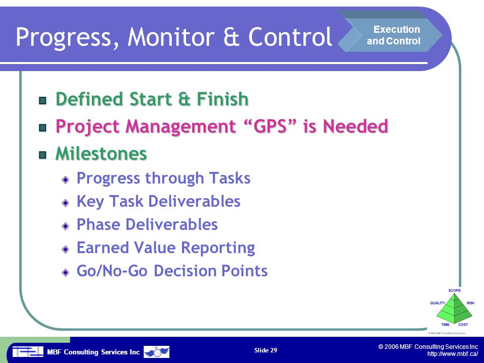 MBF Consulting Services Inc © 2006 MBF Consulting Services Inc http://www.mbf.ca/ Slide 29 Progress, Monitor & Control Defined Start & Finish Project Management GPS is Needed Milestones Progress through Tasks Key Task Deliverables Phase Deliverables Earned Value Reporting Go/No-Go Decision Points Execution and Control