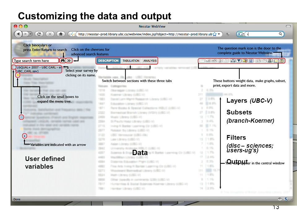13 Customizing the data and output User defined variables Layers (UBC-V) Subsets (branch-Koerner) Filters (disc – sciences; users-ug's) Output Data