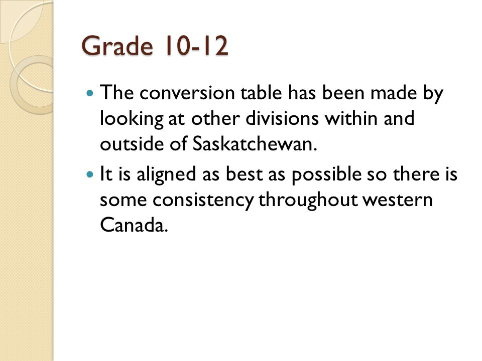 Grade The conversion table has been made by looking at other divisions within and outside of Saskatchewan.