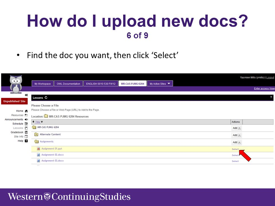 How do I upload new docs 6 of 9 Find the doc you want, then click 'Select'