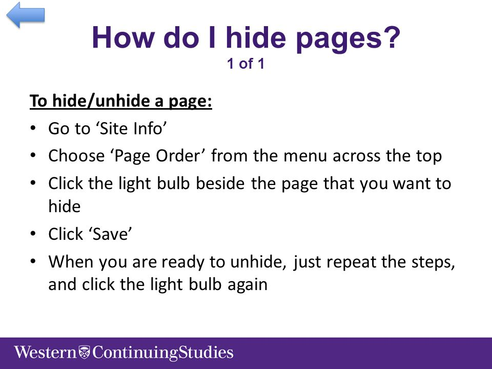 How do I hide pages.