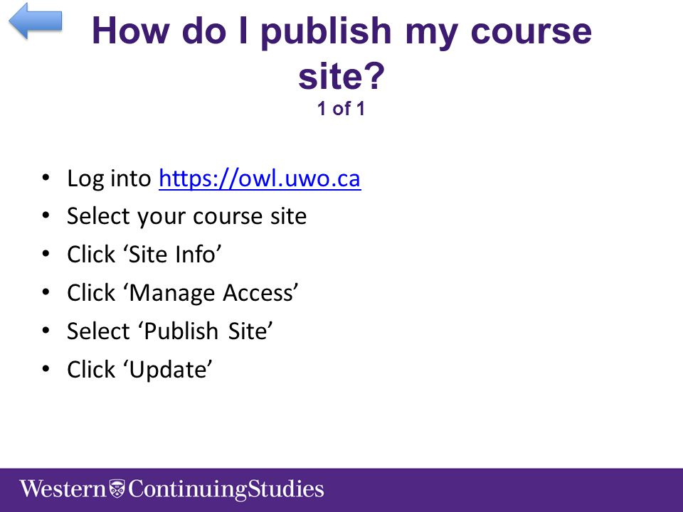 How do I publish my course site.