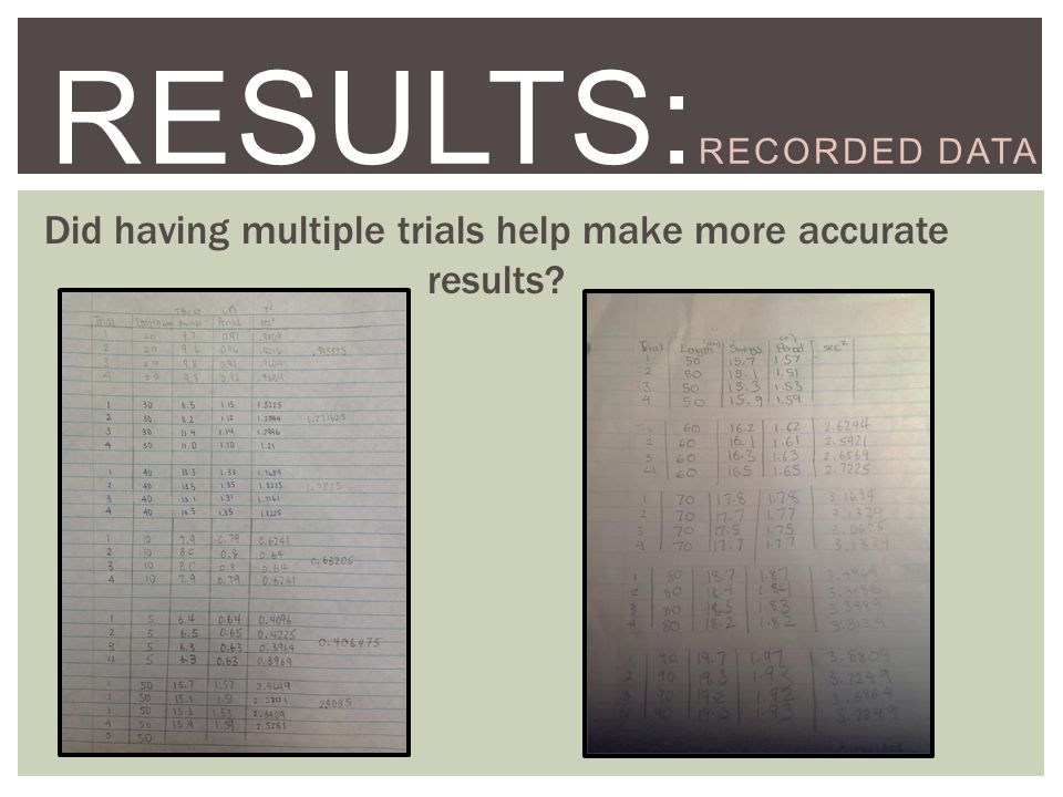 STEP TWO:EXPERIMENT RESULTS: RECORDED DATA Did having multiple trials help make more accurate results