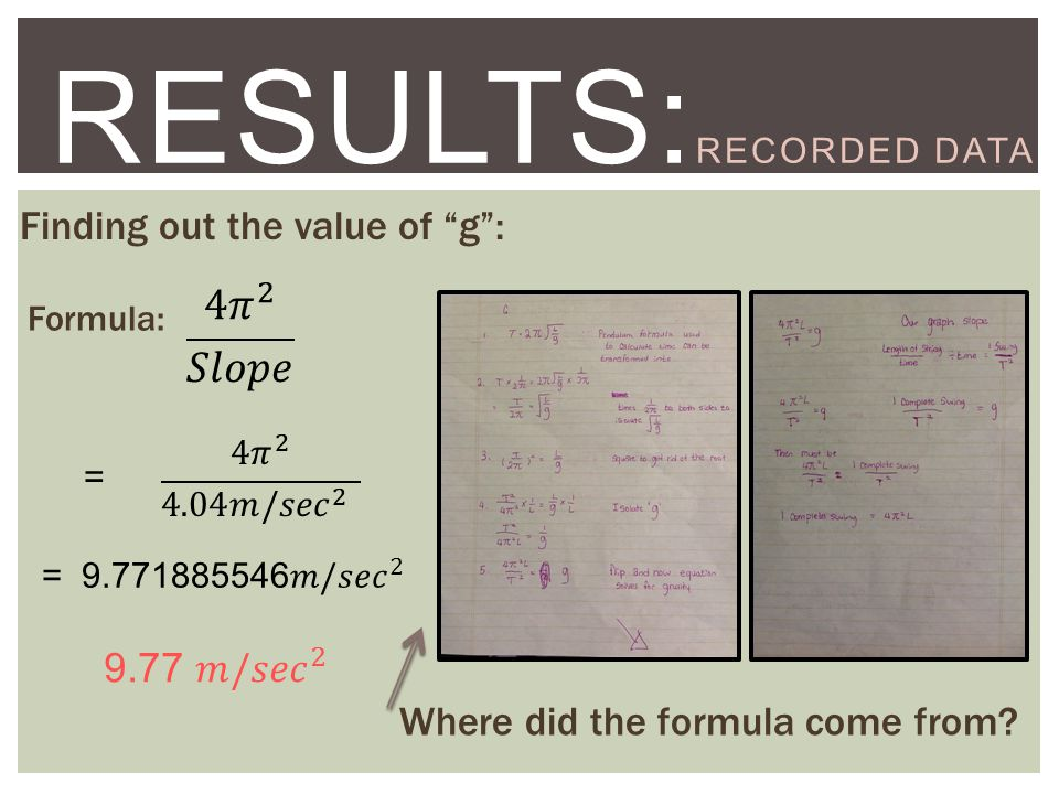 STEP TWO:EXPERIMENT RESULTS: RECORDED DATA Finding out the value of g : Formula: = Where did the formula come from