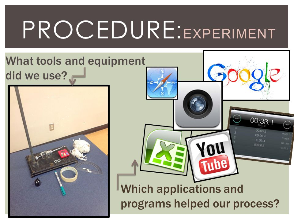 PROCEDURE : EXPERIMENT What tools and equipment did we use.
