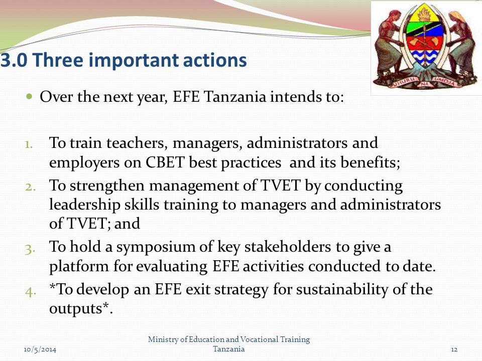 3.0 Three important actions Over the next year, EFE Tanzania intends to: 1.