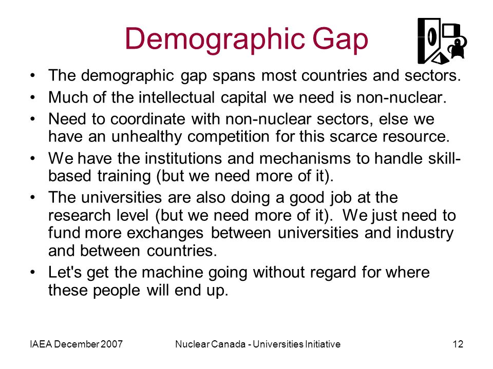 IAEA December 2007Nuclear Canada - Universities Initiative12 Demographic Gap The demographic gap spans most countries and sectors.