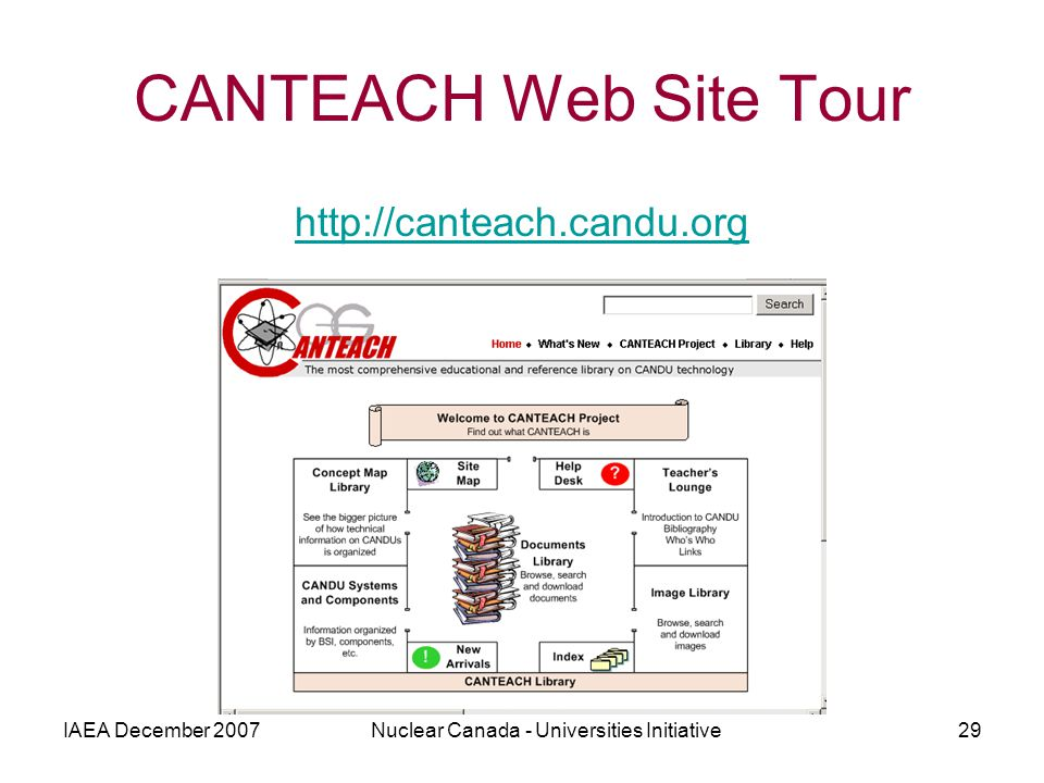 IAEA December 2007Nuclear Canada - Universities Initiative29 CANTEACH Web Site Tour http://canteach.candu.org