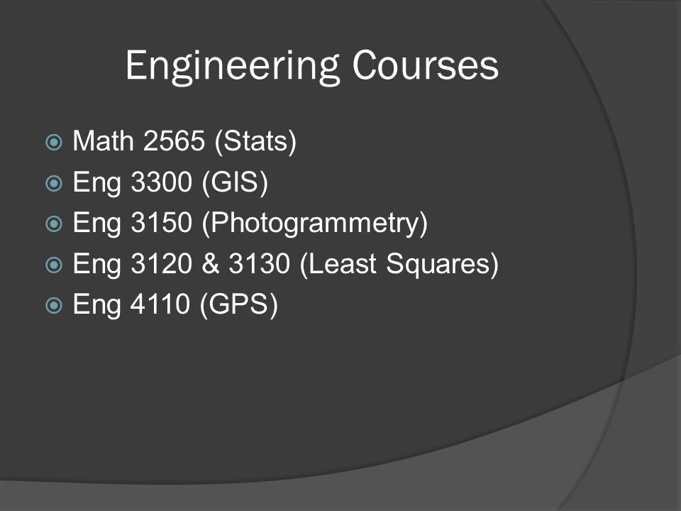 Engineering Courses  Math 2565 (Stats)  Eng 3300 (GIS)  Eng 3150 (Photogrammetry)  Eng 3120 & 3130 (Least Squares)  Eng 4110 (GPS)