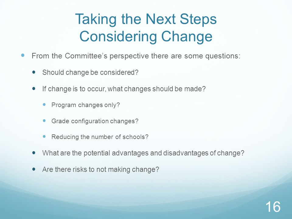 Taking the Next Steps Considering Change From the Committee's perspective there are some questions: Should change be considered.