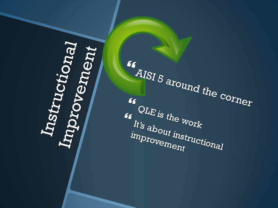Instructional Improvement  AISI 5 around the corner  QLE is the work  It's about instructional improvement