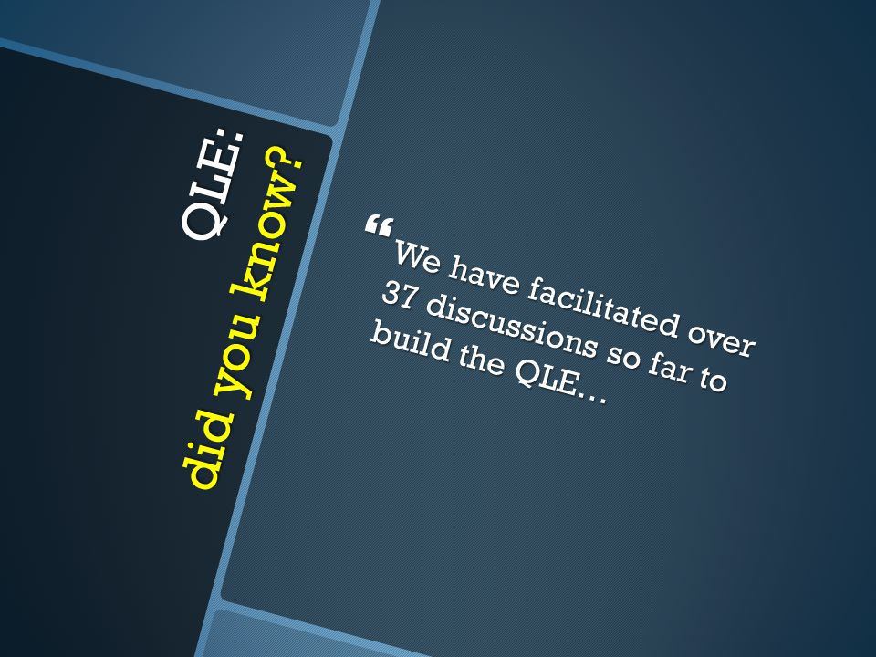 QLE: did you know  We have facilitated over 37 discussions so far to build the QLE…