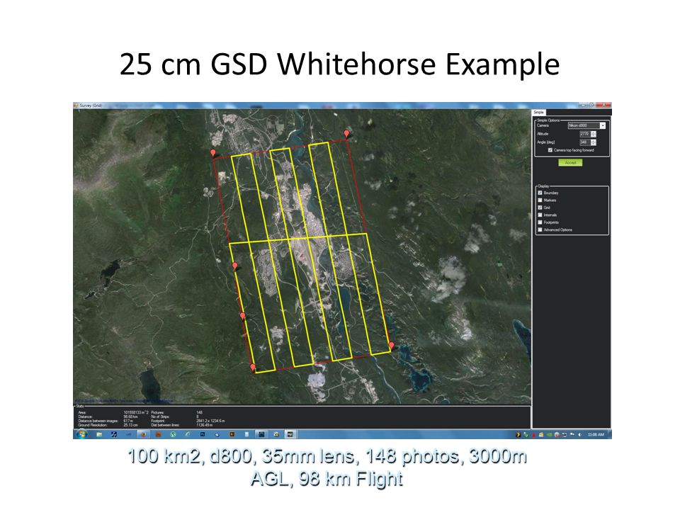 25 cm GSD Whitehorse Example 100 km2, d800, 35mm lens, 148 photos, 3000m AGL, 98 km Flight