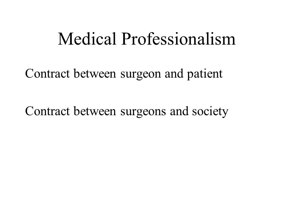 Medical Professionalism Contract between surgeon and patient Contract between surgeons and society