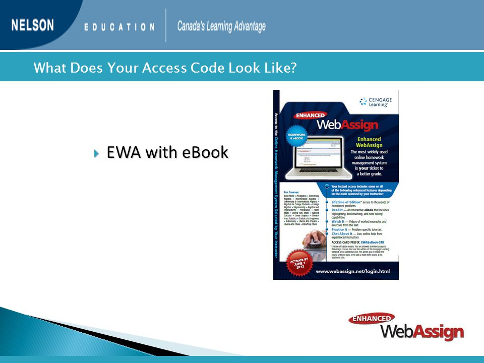  EWA with eBook  What Does Your Access Code Look Like