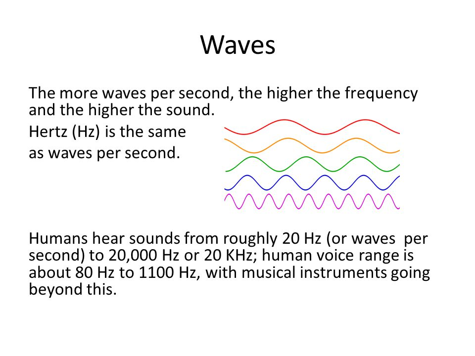 Waves The more waves per second, the higher the frequency and the higher the sound.