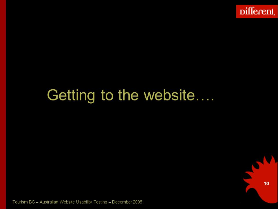 Tourism BC – Australian Website Usability Testing – December 2005 10 Getting to the website….