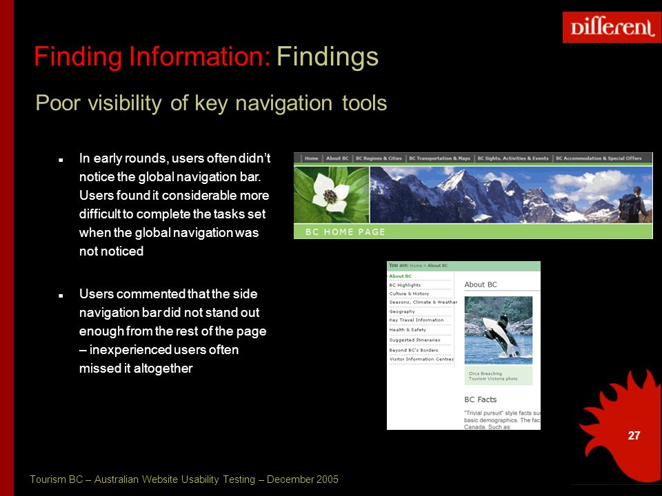 Tourism BC – Australian Website Usability Testing – December 2005 27 Finding Information: Findings Poor visibility of key navigation tools In early rounds, users often didn't notice the global navigation bar.