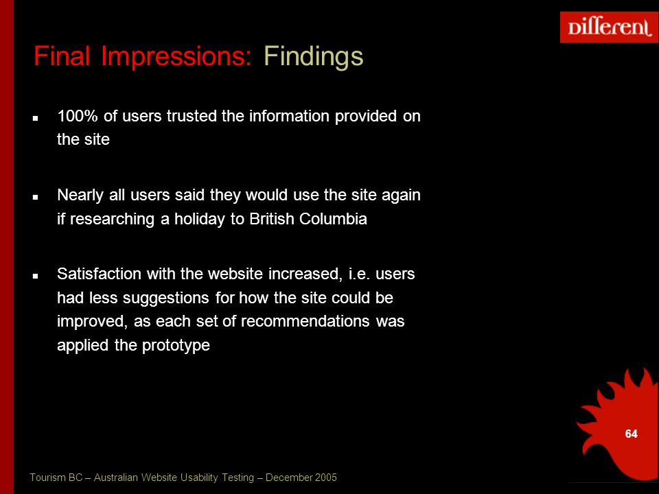 Tourism BC – Australian Website Usability Testing – December 2005 64 Final Impressions: Findings 100% of users trusted the information provided on the site Nearly all users said they would use the site again if researching a holiday to British Columbia Satisfaction with the website increased, i.e.