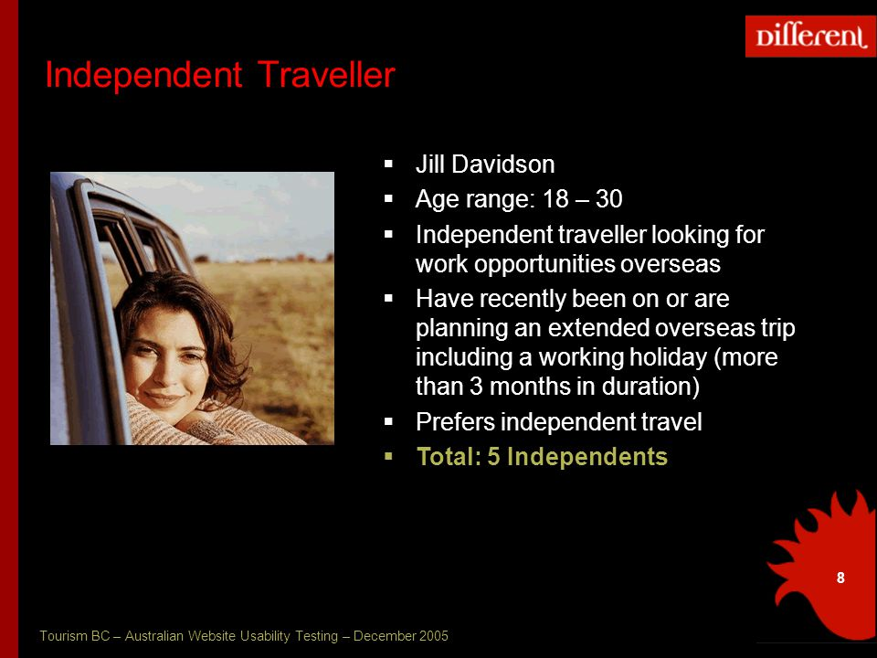 Tourism BC – Australian Website Usability Testing – December 2005 8 Independent Traveller  Jill Davidson  Age range: 18 – 30  Independent traveller looking for work opportunities overseas  Have recently been on or are planning an extended overseas trip including a working holiday (more than 3 months in duration)  Prefers independent travel  Total: 5 Independents